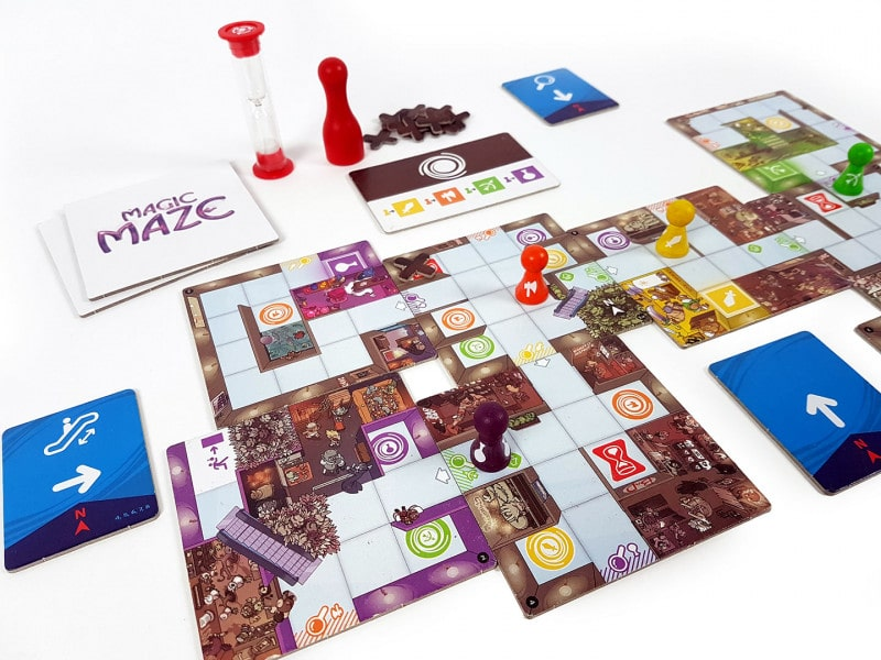 Magic Maze tablero y fichas