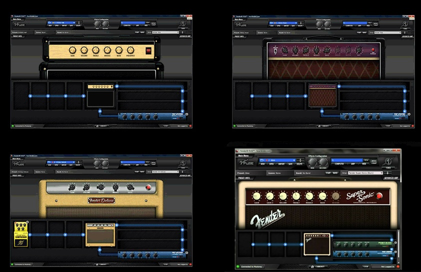 Capturas de pantalla del software Fender Fuse